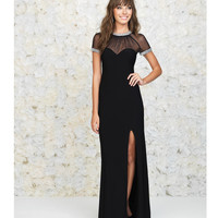 Black Sheer Cap Sleeve Open Back Gown