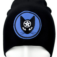 Witchy Black Cat Pentagram Beanie Alternative Clothing Knit Cap