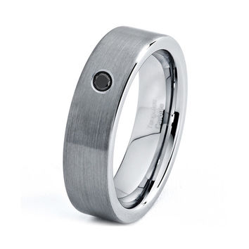 Mens Tungsten Carbide Wedding Band Ring 6mm White Diamond Brushed 5-15 Sizes Comfort Fit Beveled Edges Custom Engraved