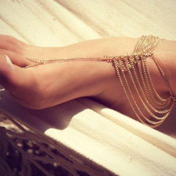 LMFDQ7 Vintage Gold Color Beach Multi Tassel Toe Ring Chain  Anklet Chain