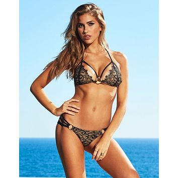 Beach Bunny Gun Powder & Lace Top & Skimpy Bottom Bikini Swimwear Set