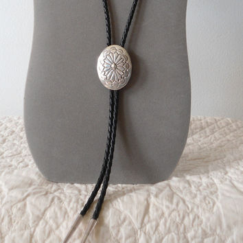 Native American Vintage Concho Sterling Silver Signed Bolo Neck Tie Black Leather Braid Navajo Concho bola string shoestring necklace lariat