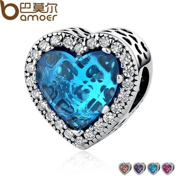 BAMOER 925 Sterling Silver Jewelry Radiant Hearts Beads Charms Fit Bracelets Women 4 Color Stone Valentine's Day Gift PSC054