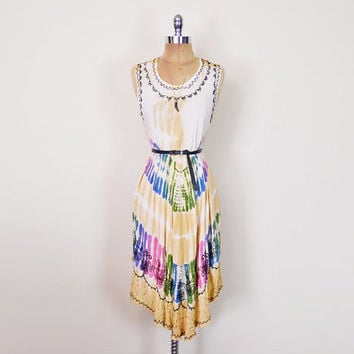 Vintage 90s 70s India Dress Tie-Dye Dress Embroider Dress Gauze Dress Midi Dress 70s Dress 70s Hippie Dress Boho Dress Festival Dress S M L