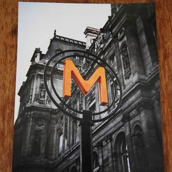 Ready To Ship 8x10 Métropolitain Paris Subway Sign Romantic Paris Architecture Fine Art Photography Black and White Orange Yellow