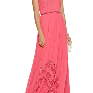 Embellished lace-trimmed plissé-chiffon gown | Badgley Mischka | US | THE OUTNET