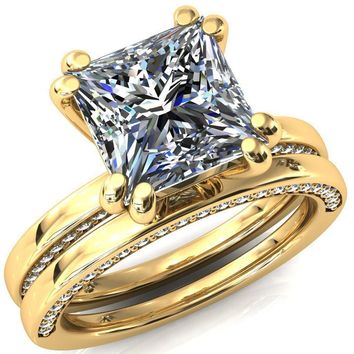 Ain Princess/Square Moissanite 4 Double Prongs Aqua Blue Spinel Bezel Diamond Side Shank Ring