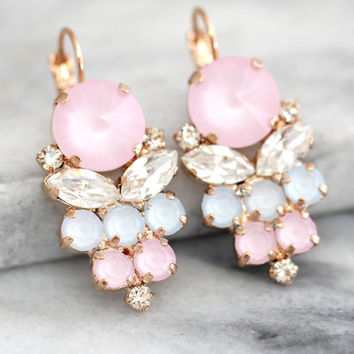 Rose Quartz Earrings, Bridal Earrings, Pink Swarovski Cluster Bridal Earrings, Drop Earrings, Gift For Her, Bridesmaids Earrings