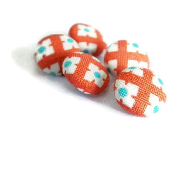 Fabric buttons size 24 with shank for sewing crafts orange teal white flower Spring Summer Dress