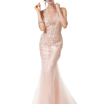 Colors 1173 Blush In Stock SZ 4 Lace Applique Mermaid Prom Dress Informal Wedding