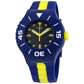 Swatch Long Waves Dark Blue Dial Mens Two Tone Watch SUUN102