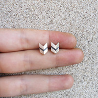 Chevron Sterling Silver Stud Earrings - Original Faceted Small Tiny Chevron 3D Post Earrings Studs - Contemporary Jewelry in Silver
