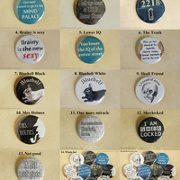 Sherlock Holmes Pinback Buttons, BBC Sherlock Pins, 221B Baker Street, Bluebell Rabbit, I am Sherlocked, Brainy is the new sexy, Watson Pins