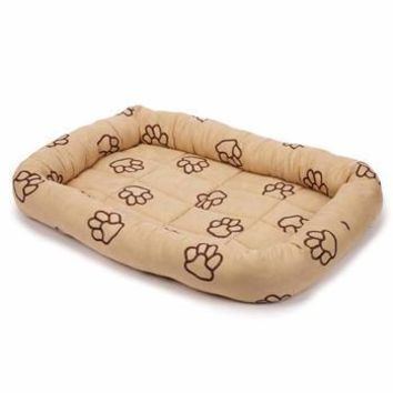 Slumber Pet Embroidered Paw Print Crate Beds - Camel