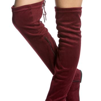 Wine Faux Suede Thigh High Boots @ Cicihot Heel Shoes online store sales:Stiletto Heel Shoes,High Heel Pumps,Womens High Heel Shoes,Prom Shoes,Summer Shoes,Spring Shoes,Spool Heel,Womens Dress Shoes