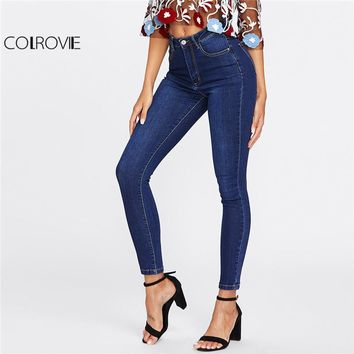 Spring Dark Wash Skinny Denim Jeans Female Blue High Waist Button Fly Casual Jeans Women Plain Long Pencil Pants