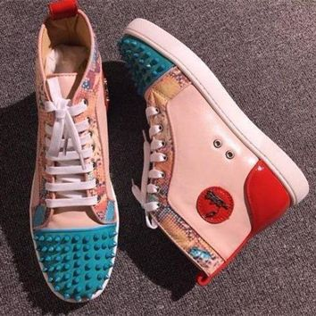 ICIK1W Cl Christian Louboutin Lou Spikes Style #2216 Sneakers Fashion Shoes