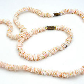 Vintage Clam Necklace & Bracelet Set SeaShell