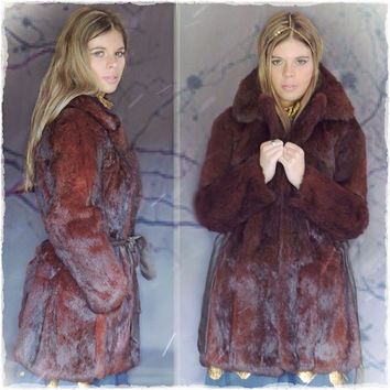 Vintage glossy chestnut marmot fur and leather campus coat / tailored haute hippie jacket / Mod mid century wrap styling