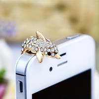 Bling White Crystal Golden Dolphin Ocean Fish Anti Dust Plug 3.5mm Smart Phone Headphone Cap Earphone Jack Charm iPhone 4 4S 5 HTC Samsung