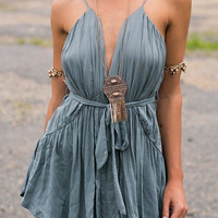 Grey Pleated Cami Mini Dress with Belt