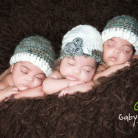 Newborn Triplets Hat Set by PetuniaandIvy on Etsy