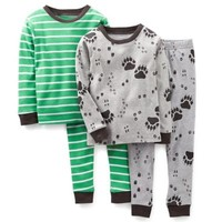 Carter's® Bear Paws 4-Piece Pajama Set in Grey