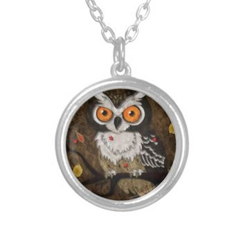 Wise Owl Round Pendant Necklace
