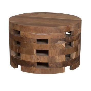 Eco-Friendly Teak Wood Boho Drum Coffee Table