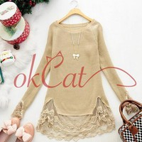 Womens Playful Lace Sweet Sweater Stitching Off Two Knitting Wool Clothes