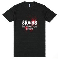 BRAINS. It's What's for Dinner.-Unisex Athletic Black T-Shirt