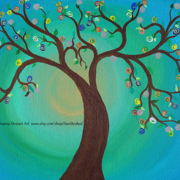 PRINT, Tree Love In Bloom, abstract acrylic energy painting, Shawna Stewart art, Free shipping