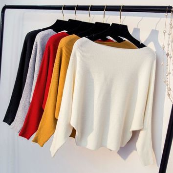 new fashion women Casual Knitted shirt Batwing Sleeve solid color pullover female girls Slash neck spring autumn sweater clothes