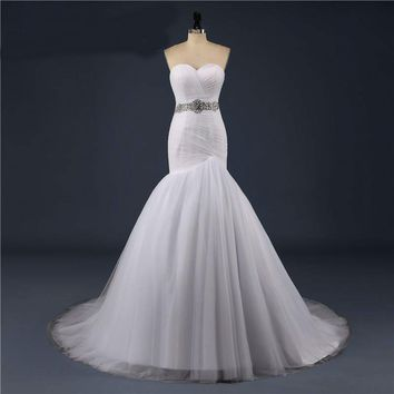 Tulle Wedding Dresses Off the shoulder Mermaid Bridal Gowns With Beading Belt