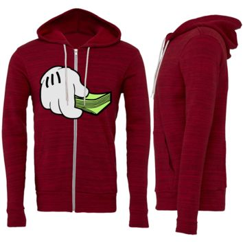 DOPE HAND WITH CASH MONEY FULL ZIP HOODED SWEATSHIRT