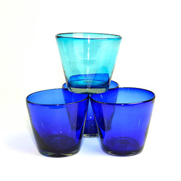Cobalt Blue & Aqua Blown Glass Planter Bowls - Heavy, Thick Handmade Dishes for Inlay, Planter, Vase, or Storage Use - Vintage Home Decor