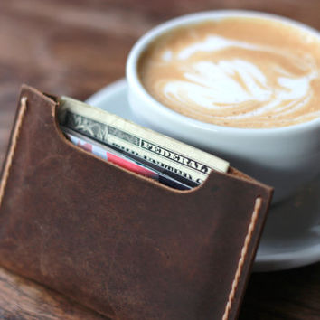Wallet PERSONALIZED Groomsmen Gift Leather Wallet Sleeve - Holds your cards and a little bit of cash - Perfect Birthday Present