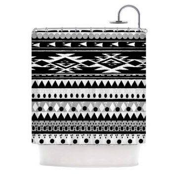 "Kess InHouse Nika Martinez ""Black Hurit"" Gray White Shower Curtain, 69 by 70"""