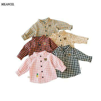 MILANCEL New Spring Boys Shirt Cotton Girls Base Blouse Plaid Baby Shirt Turn Down Collar Girls Blouse Kids Clothing