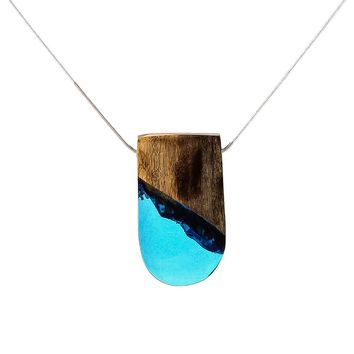 Necklaces Women Statement Necklace Pendants Handmade Jewelry Trapezoid Resin & Wooden Pendant Collar Chokers