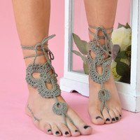 BOHO Festival Crochet Barefoot Beach Holiday Sandals - Khaki