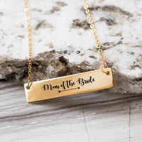 Mother of the Bride Gold / Silver Bar Necklace - Bridesmaid Gift