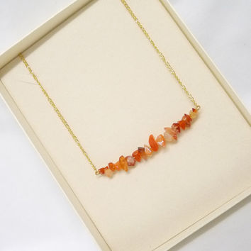 Necklace, Carnelian Nuggets, Gold Chain, Trapeze Style, Handcrafted, Oaak, Natural Gemstone, original, gift