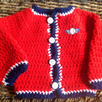 Crochet Baby Baseball Sweater Cardinals Indians Red Sox You Choose