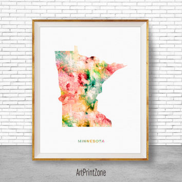 Minnesota Map Art Print Minnesota Art Print Minnesota Decor Minnesota Print Map Print Map Poster Watercolor Map Office Poster ArtPrintZone