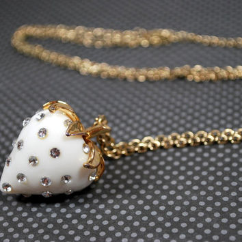 Vintage Rhinestone White Strawberry Necklace, Goldtone accents, white pearl enamel Statement Necklace
