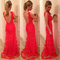 Backless Lace Runway Evening Dresses  Mermaid Formal Gowns For Womens