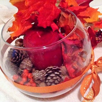 Fall decoration, fall terrarium , floral arrangement,  autumn tabletop arrangement, fall autumn arrangement, natural arrangement