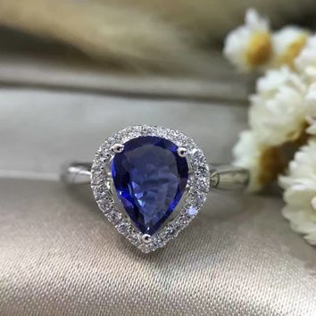 1.282ct+0.136ct 18K Gold Natural Sapphire Women Ring with Diamond Setting 2016 New Fine Jewelry Wedding Band Engagement