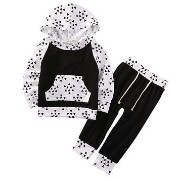 2Pcs Newborn Infant Baby Boy Girl Xmas New Clothes Long Sleeve Tops Hoody+Long Pants Cotton Outfits Set
